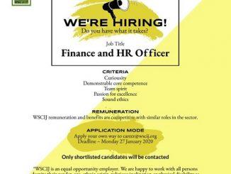 WSCIJ vacancy, finance