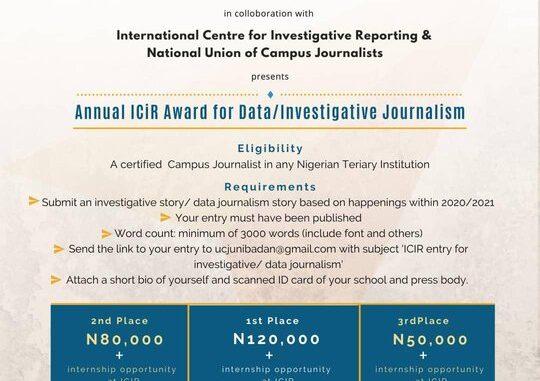 Annual ICiR Award for Data/Investigative Journalism